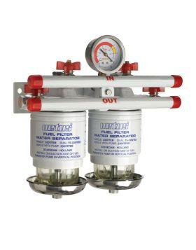 Wasserabscheider/Grobfilter CE/ABYC, doppelt, 10 micron, max. 42 gph (190 l/h),