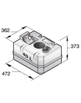Schmutzwassertank 40 Liter inkl. Anschlüsse und Inspektionsdeckel, (exkl. Einfüllstutzen)