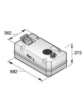 Schmutzwassertank 60 Liter inkl. Anschlüsse und Inspektionsdeckel, (exkl. Einfüllstutzen)
