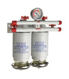 Wasserabscheider/Grobfilter CE/ABYC, doppelt, 10 micron, max. 84 gph (380 l/h),