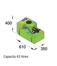 Trinkwassersystem 42 Liter, 12 Volt, incl. Druckwasserpumpe u. Anschlussfittinge