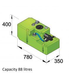 Trinkwassersystem 88 Liter, 12 Volt, incl. Druckwasserpumpe u. Anschlussfittinge