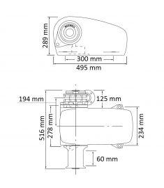 Horizontale Ankerwinde - 12V - für 9-11 mm Kette - 1200W - DCW/ SD (Bordseite)