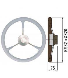 Steuerrad Type KS mit Polyuhrethanbeschichtung - Ø32 cm - Grau