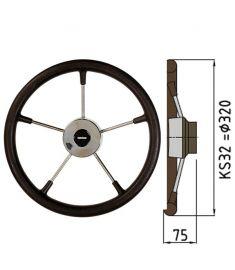 Steuerrad Type KS mit Polyuhrethanbeschichtung - Ø32 cm - Schwarz