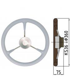 Steuerrad Type KS mit Polyuhrethanbeschichtung - Ø36 cm - Grau