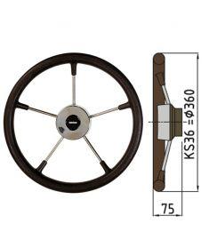 Steuerrad Type KS mit Polyuhrethanbeschichtung - Ø36 cm - Schwarz