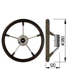 Steuerrad Type KS mit Polyuhrethanbeschichtung - Ø38 cm - Schwarz