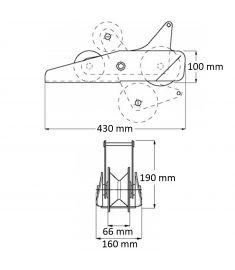 """Bugrolle klappbar Ankerkette bis 13mm (1/2"""") Kette"""