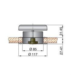 Dæksventil type PORTOS1 syrefast incl. plast inderflange