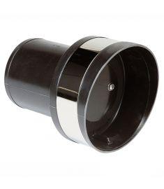 Kunststoff Auspuff-Spiegeldurchführung mit Rückschlagklappe, Typ TC125, Ø 125 mm