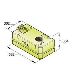 Trinkwassertank 60 Liter inkl. Anschlüsse und Inspektionsdeckel