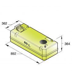 Trinkwassertank 80 Liter inkl. Anschlüsse und Inspektionsdeckel