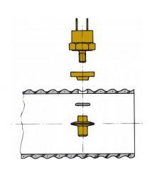 Sensor für Auspufftemperatur Alarm  - Montage in VETUS Auspuffschlauch
